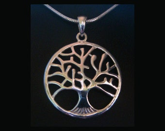 Tree of Life Necklace: Contemporary Design 925 Sterling Silver Tree of Life Necklace with 32mm Convex Contour Tree of Life Pendant TOL004