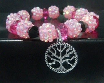Tree of Life Bracelet with Pink & Black Beads and Antique Style Tree of Life Pendant Charm - Antique Tree Stretch Tree of Life Bracelet 031