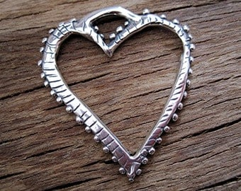 Large, Dotted, Artisan, Sterling Silver, Heart Charm and Pendant (one) (C) (A)