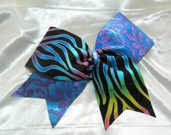 Multicolored Fire and Lace Cheer Bow Hair Bow