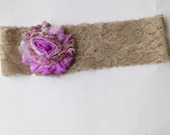Girls Lavender Floral and Taupe lace headband, Girls Lace Headband, Girls Lacy Headband, Lace Headband, Lace and Flower Headband