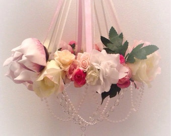 Rose Garden baby mobile chandelier shabby chic baby girl nursery bedroom decor