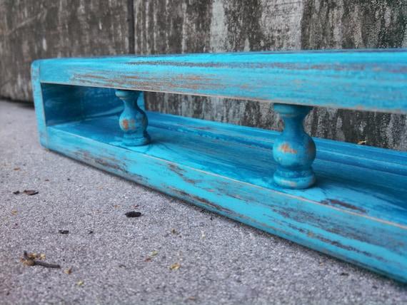 Benoist Reclaimed Wood Vanity Mirror: Rustic Teal Plate Shelf With Galley Rail Hanging Shelf