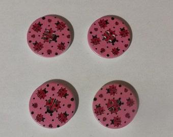 Pink Ladybug Wood Button- 30mm