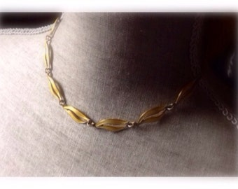 Vintage Aksel Holmsen sterling silver pale yellow guilloche enamel necklace.