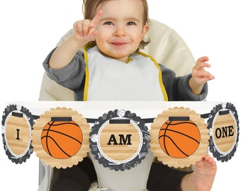 Basketball - 1st Birthday - I Am One - First Birthday High Chair Banner - First Birthday Party Decorations