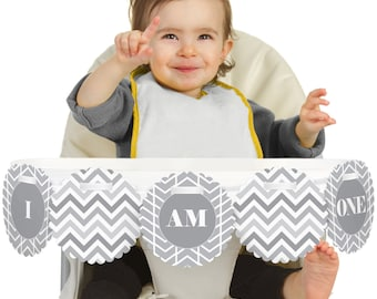 Chevron Gray - 1st Birthday - I Am One - First Birthday High Chair Banner - First Birthday Party Decorations