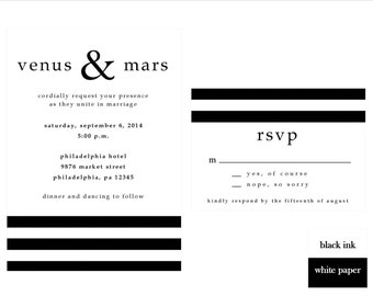 Black and White Striped Wedding Invitation Set, DIY Wedding Invitation, Printable Invitation Set, Black and White Stripes, Classic Wedding