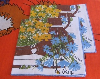 Adorable Pair of Vera Napkins featuring Pitchers of Blue and Yellow Flowers