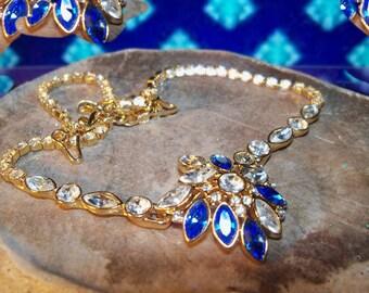 Elegant Saphire blue & Crystal  Goldtone Vintage Monet Necklace