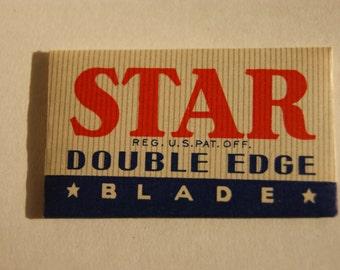 Vintage 1930's Star NIB Double Edge Razor Blades  (4) Blades