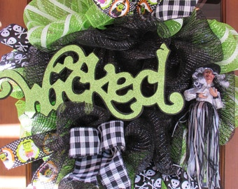 "24"" Wicked Witch Wreath- Halloween Wreath- Witch Deco Mesh Wreath- Frankenstein Wreath- Witch Decor- Wicked Wreath- Halloween Decor"