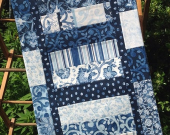 Table Runner, Blue and White