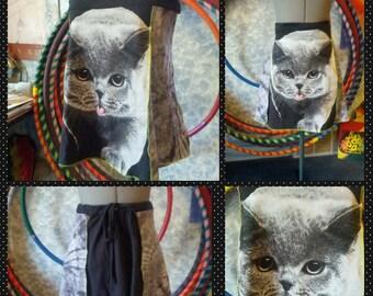 upcycled mini skirt tank top Cat Kitty SM-XXXL