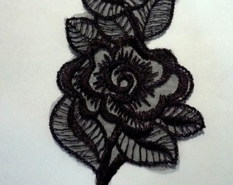 Black Rose Flower Lace Patch Motif Appliques  Crafts Supply Sew on - Front Panel or Back Panel A79