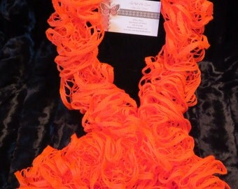 Glowing Orange Ruffle Scarf