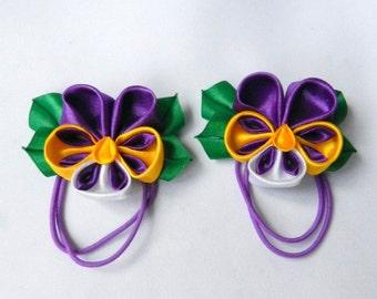 """Set of two kanzashi ponytails """"Pansies"""""""