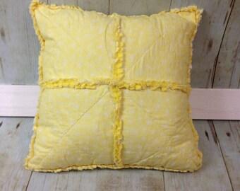 Rag Pillow- Yellow flowers