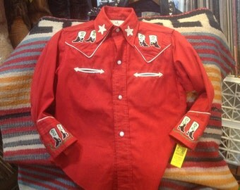 Vintage 1940s Incredible Embroidered Kowkid Western Shirt
