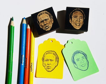 Nicolas Cage Face Stamp Set- 2 Glorious Stamps! -Free Shipping in Canada!