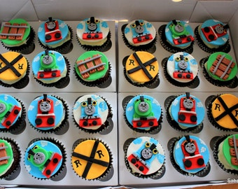 Edible fondant Thomas the train cupcake toppers - 12 piece set
