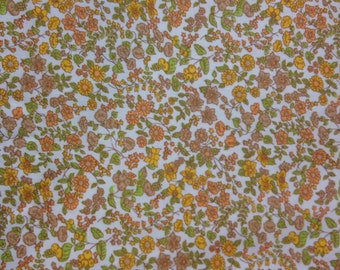 Vintage fabric by the yard. Orange, yellow and brown floral fabric.