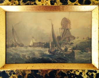 Pair of Hand-colored Engravings of Coastal  Scenes by Sungott Art Studio Gilt Frame