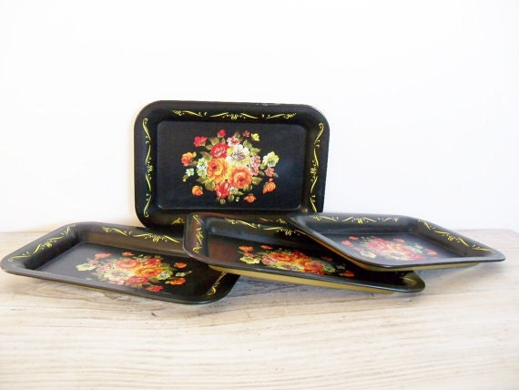 Small Metal Trays 4 Vintage Trays Black Tole Painted Flowers Gold Trim 1960s