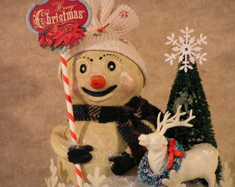Paper Clay Christmas Snowman With Vintage Reindeer And