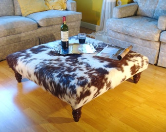 Captivating Cowhide Tablestool, Footstool, Ottoman, Ottoman, Cowhide Coffee Table, Coffee  Table
