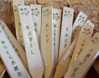 Herb Markers Garden Stakes Plant Markers Ceramic