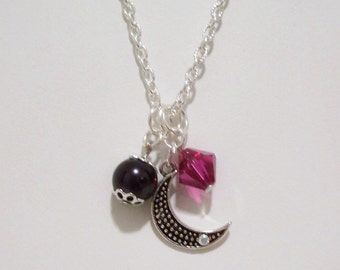 Fuchsia Crystal & Black Pearl Charm Necklace