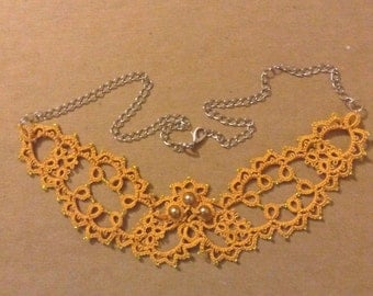 Tatted necklace, tatting necklace, tatted choker, tatting choker, tatted lace, knotted lace, lace necklace, tatted jewelry, lace jewelry