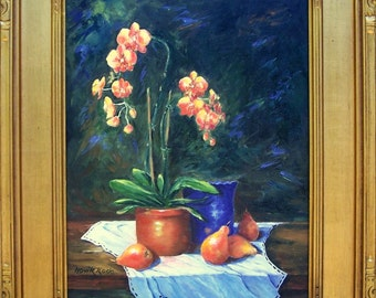 Original oil painting on canvas- Still Life-Flower painting-Orchids and Pears-including frame- Impressionism