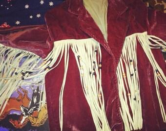 Fringe western suede jacket