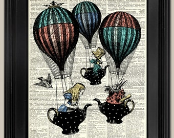 """Alice's Teapot Balloons. Upcycled vintage book page art print. Print on book page. Fits 8""""x10"""" frame."""