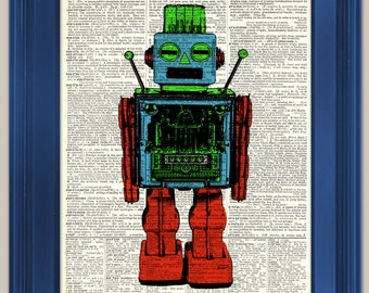 "Toy Robot Vintage book page art print. Print on book page.  Fits 8""x10"" frame."