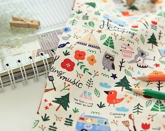 Pretty Camping Story Design 20s Cotton Fabric by Yard - Natural Color