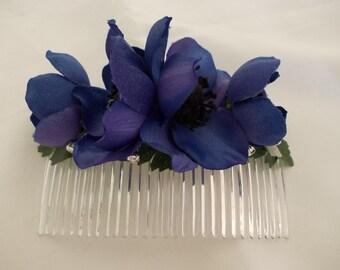 Blue/Purple Anemone Hair Comb