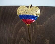 Colombian Flag Headband - Patriotic Headband - Sequin Headband