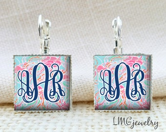 Lilly Pulitzer Inspired Earrings,Monogram Lilly Pulitzer Earrings, Jellies Be Jammin Lilly Earrings, Silver Lilly Pulitzer Earrings