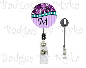 Retractable ID Badge Holder - Purple Floral (alphabet)