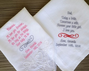 Set of Two!  Personalised wedding handkerchief! Custom embroidered wedding hankie ! To dry happy tears!!!