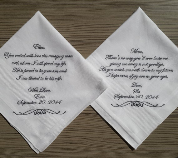 Wedding Gifts For Parents Handkerchief : wedding handkerchief for parents. Custom embroidered wedding ...
