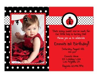 Ladybug Invitation / Ladybug Invite / Cute Ladybug Invitation / 1st Birthday Ladybug Invitation/Photo Ladybug Invitation