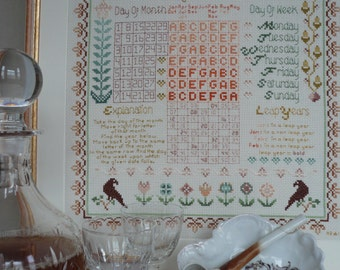 14 Count Cross Stitch CHART ONLY: Herschel's Perpetual Calendar Sampler By Maggie Gee Needlework