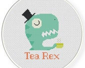 INSTANT DOWNLOAD Stitch Tea Rex PDF Cross Stitch Pattern Needlecraft