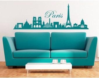 Paris Skyline wall decal, sticker, mural, vinyl wall art