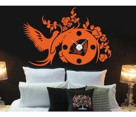 Asiatique sticker horloge autocollant d coration murale for Autocollant decoration murale
