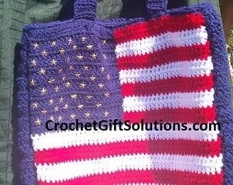 Crochet Tote Bag, American Flag Tote Bag, Americana Tote Bag, Flag Tote Bag, Patriotic Tote Bag